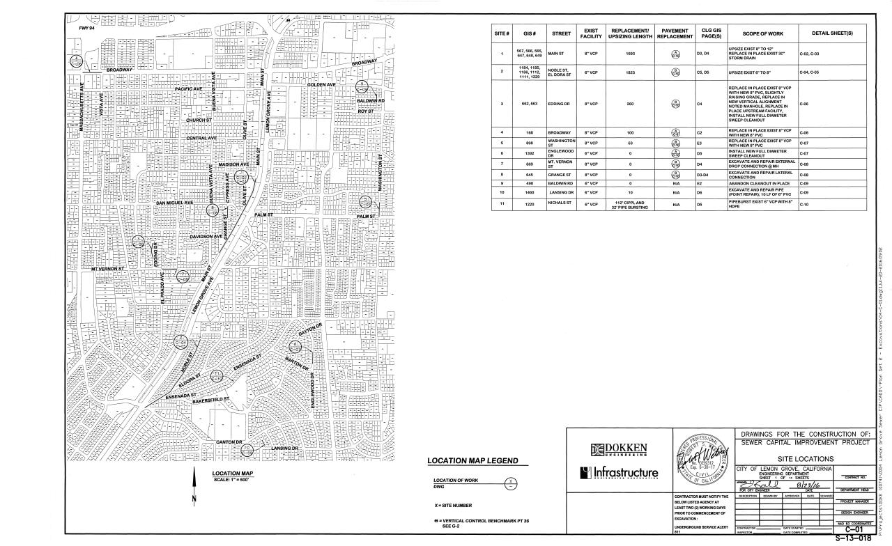 Sewer Upsizing Location Map