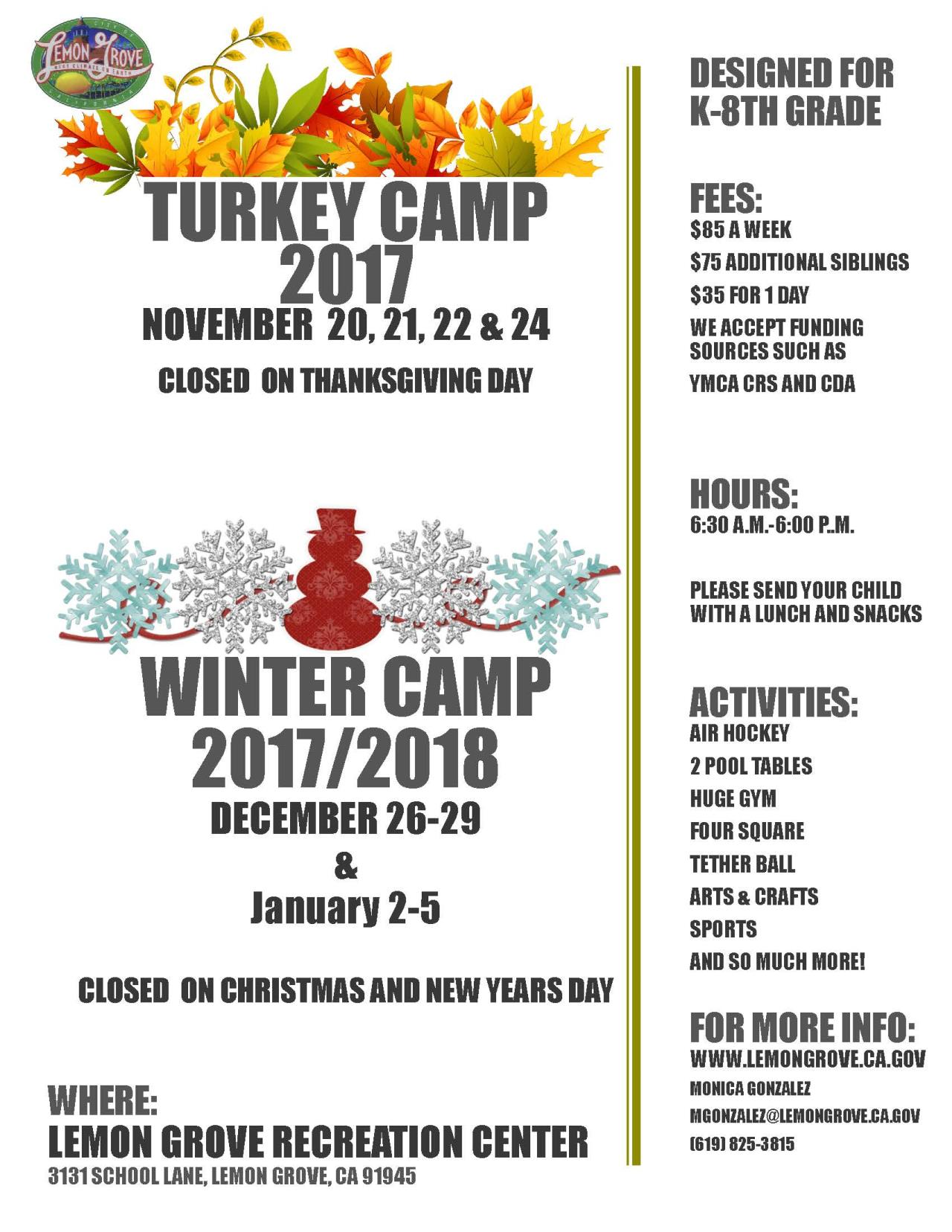 Turkey and Winter Camp 2017